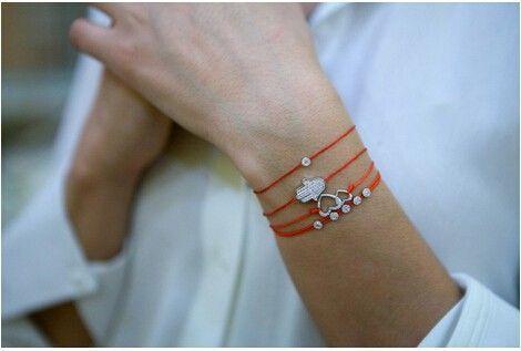 Купить браслет красная нить с камушком
